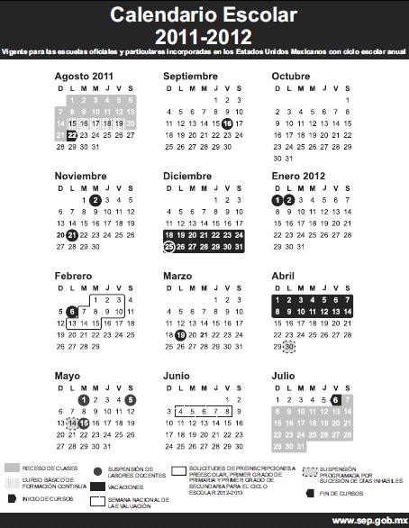 Este calendario, estará vigente para las escuelas oficiales y