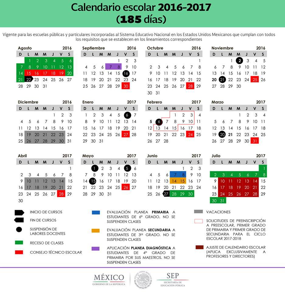 calendario escolar 185 dias