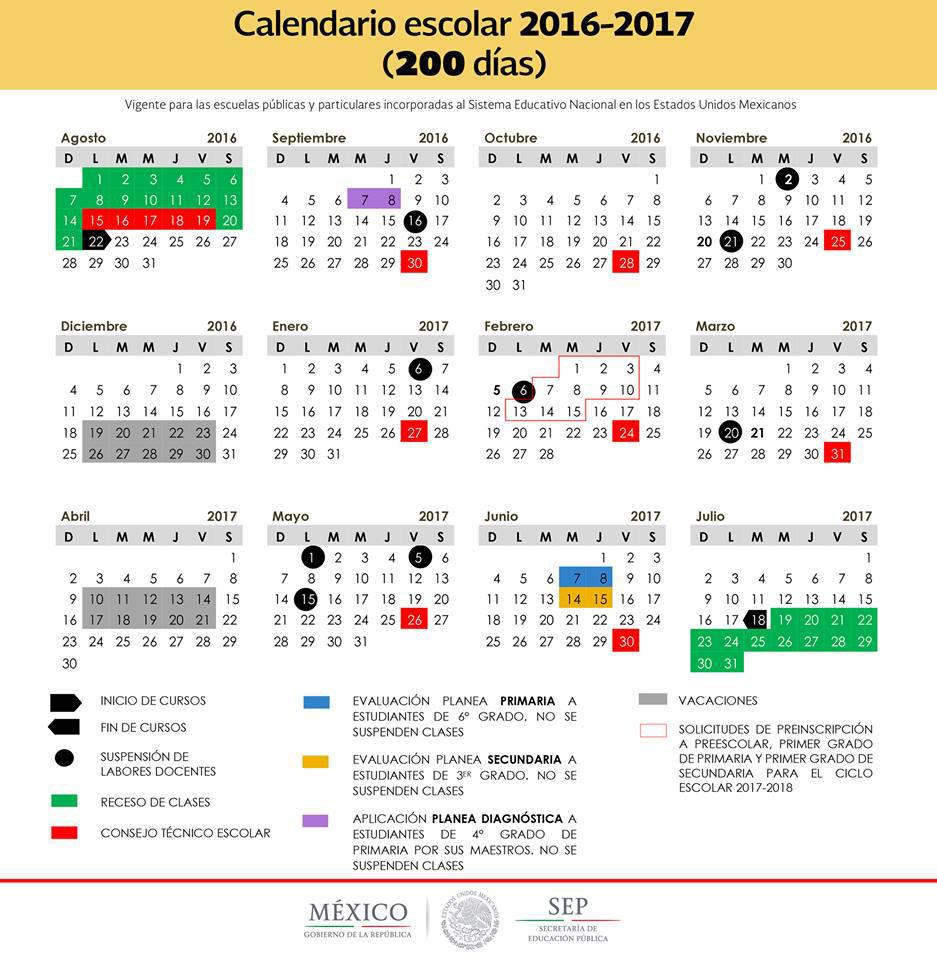 calendario escolar 200 dias