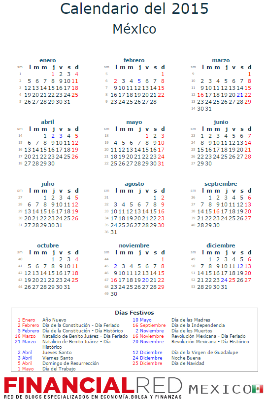 calendario laboral mexico 2015