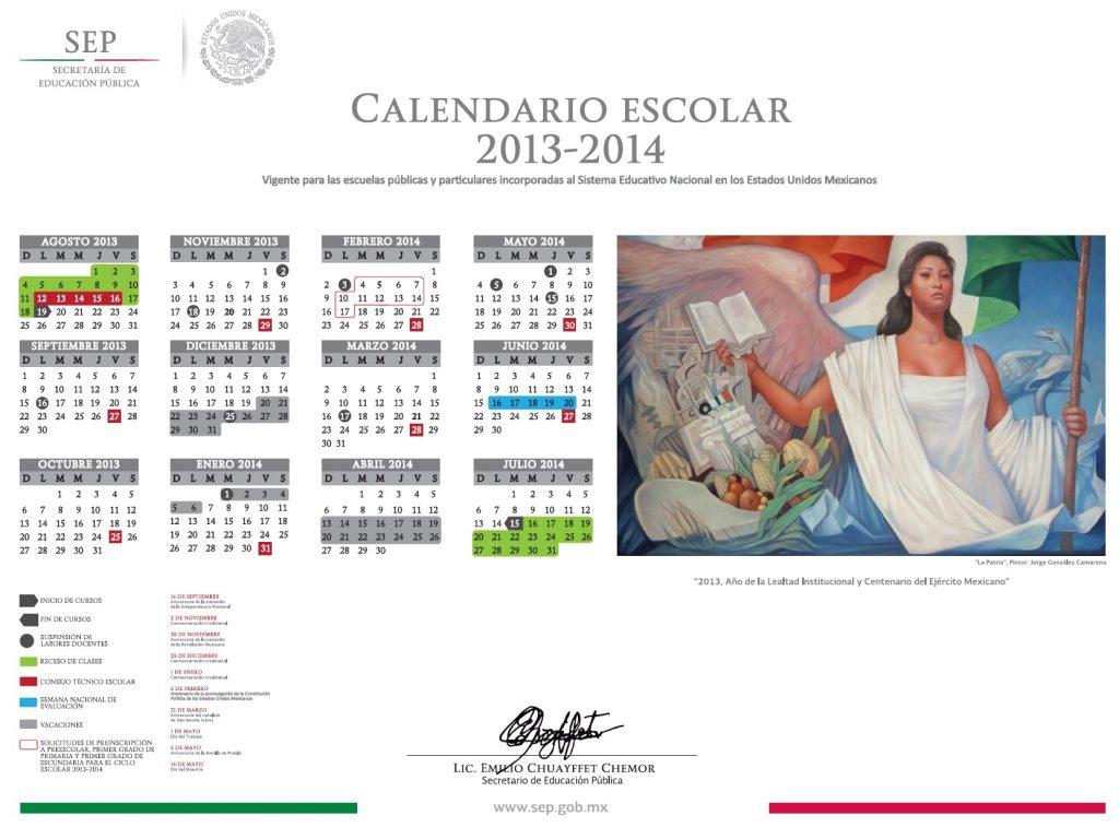 calendario oficial sep 2013-2014