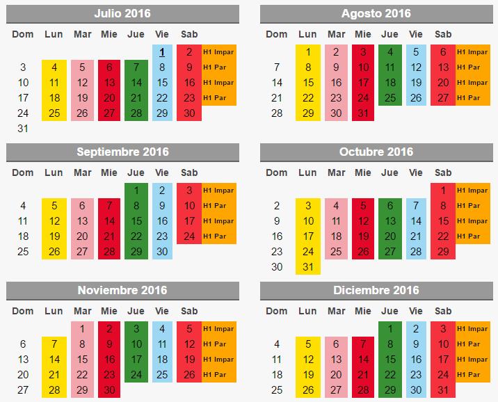 calendario segundo semestre 2016 hoy no circula