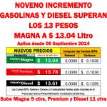 gasolina septiembre 2014
