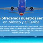 Nuevos vuelos de Southwest Airlines hacia México